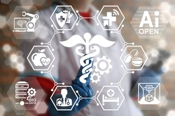 Modern medicine concept - IT, DATA, IoT, BIG DATA, Computing, Robot, 3D PRINTING integration in health care. Doctor touched caduceus gears icon on virtual medical screen.