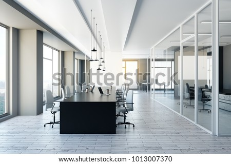 Modern meeting room with city view and equipment. 3D Rendering