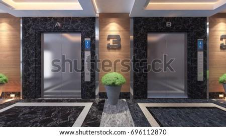 modern metal elevator design idea 3d rendering by Sedat SEVEN