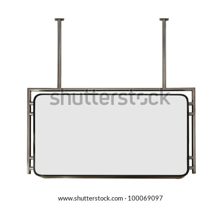 modern metal hanging sign board isolated on white background