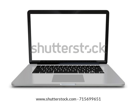Modern metal office laptop or silver business notebook with blank screen isolated on white background with reflection effect. 3d illustration