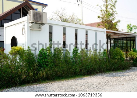 Modern metal White building made from shipping house  containers . #1063719356