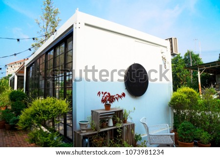 Modern metal White building made from shipping house  containers . #1073981234