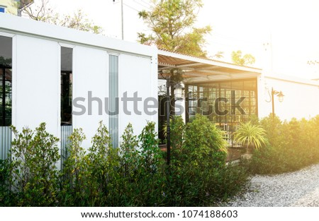 Modern metal White building made from shipping house  containers . #1074188603