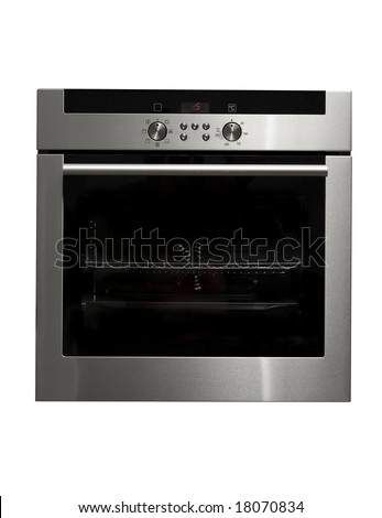 Modern metallic oven isolated on white with clipping path