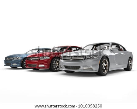 Modern metallic red, blue and silver fast cars - 3D Illustration #1010058250