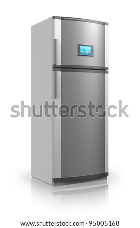 Modern metallic refrigerator with touchscreen interface isolated on white reflective background