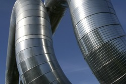 Modern metallic ventilation ducts (double, ribbed)