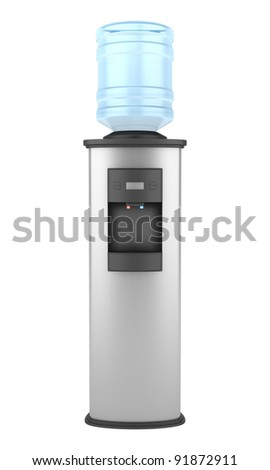 modern metallic water cooler isolated on white background - stock photo