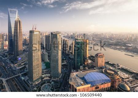 modern metropolis of shanghai at dusk, aerial view from the oriental pearl tower
