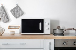 Modern microwave oven in kitchen