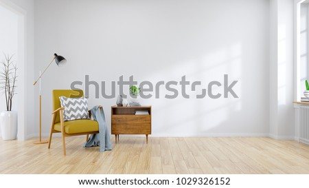 Modern mid century and minamalist interior of living room Yellow armchair with wood table on white wall and wood floor ,3d render