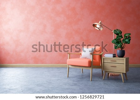 Modern mid century and minimalist interior of living room ,Living coral decor concept,vintage coral armchair with wood table on concrete floor ,3d render