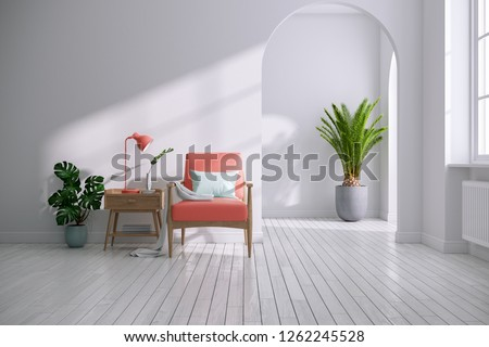 Modern mid century and minimalist interior of living room ,Living coral decor concept,vintage coral armchair with wood table in white room ,3d render
