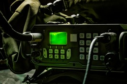 Modern military radio station. The concept of data transmission, targeting missiles, the implementation of special operations. Mixed media
