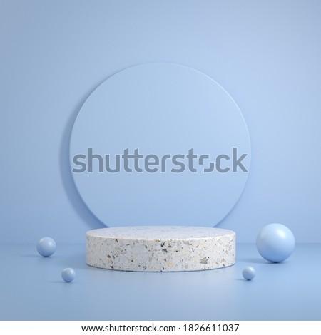 Modern Minimal Clean White Stone Marble Scene Primitive Shape With Blue Pastel Background 3d Render