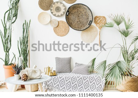 Modern minimal home interior design. Pillows, golden teapot, decorative straw plates, Scandinavian blanket, tropical palm tree, succulent and decorations.