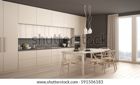 Modern Minimal White Kitchen With Wooden Floor Classic Interior
