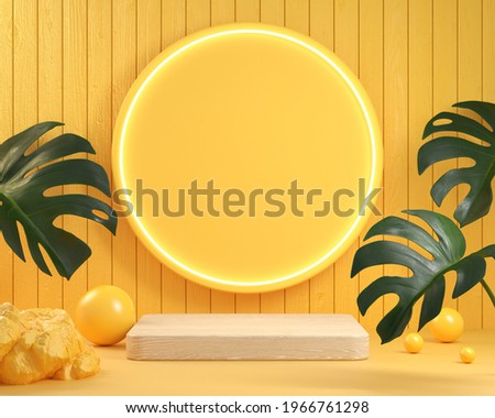 Modern Minimal Wood Display Podium With Neon Light And Monstera Plant Natural Concept Abstract Background 3d Render