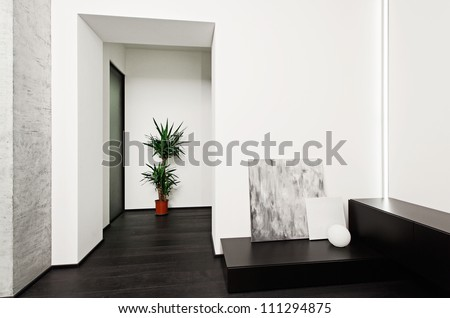 Modern minimalism style hall interior in black and white tones - stock photo