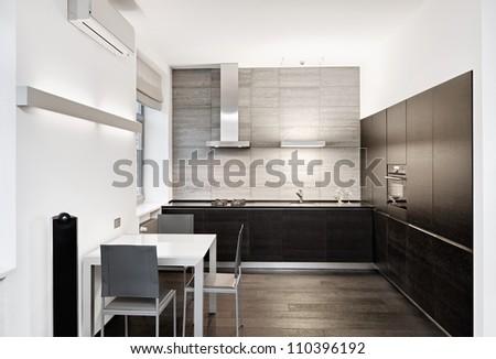 Modern minimalism style kitchen interior in monochrome tones