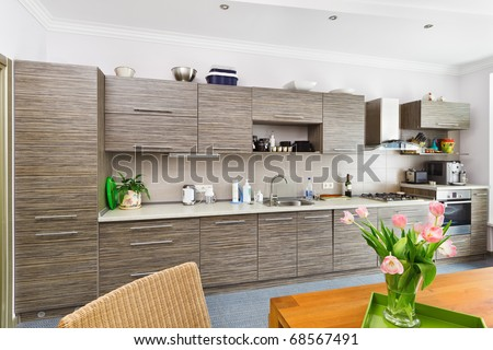 Modern minimalism style Kitchen interior with patterned gray furniture