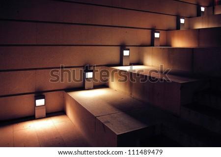 modern minimalism style stairs with night lighting - stock photo