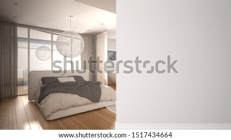 Modern minimalist bedroom with double bed and panoramic window on a foreground wall, interior design architecture idea, concept with copy space, blank background, 3d illustration