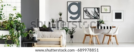 Modern minimalist flat with plants and posters #689978851