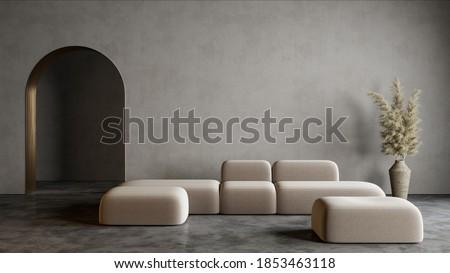 Modern minimalist interior with arch, concrete floor, sofa and decor. 3d render illustration mock up. Сток-фото ©