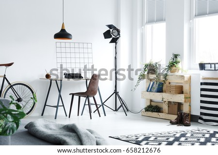 Modern minimalistic home office with DIY accessories #658212676