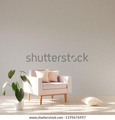 Modern minimalistic interior with an armchair. Scandinavian style. 3D render.