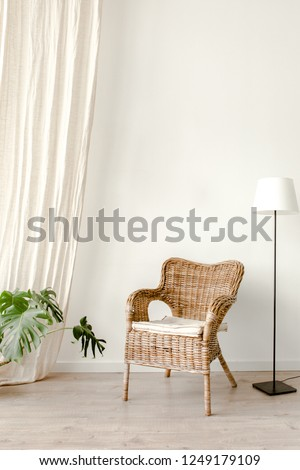 Modern minimalistic interior with an braided armchair, floor lamp , tropical palm plant in wicker basket. Scandinavian style.  #1249179109