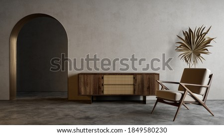 Modern minimalistic interior with arch, dresser, lounge chair and decor. 3d render illustration mockup. Сток-фото ©