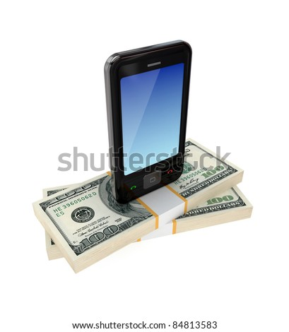 Modern mobile phone and dollar packs.3d rendered.Isolated on white background.