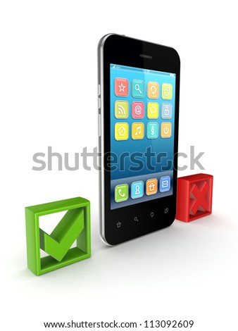 Modern mobile phone between tick and cross marks.Isolated on white background.3d rendered.