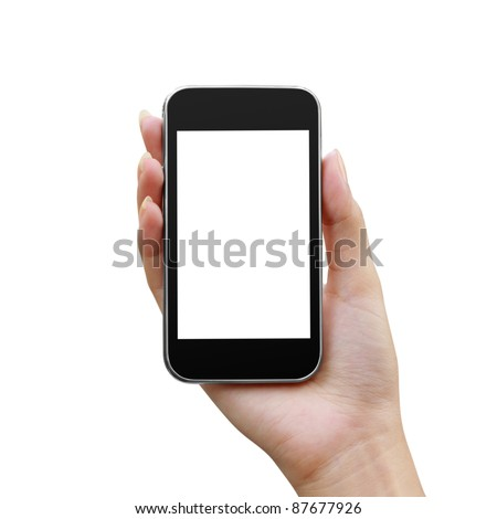 Modern mobile phone in a woman's hand isolated