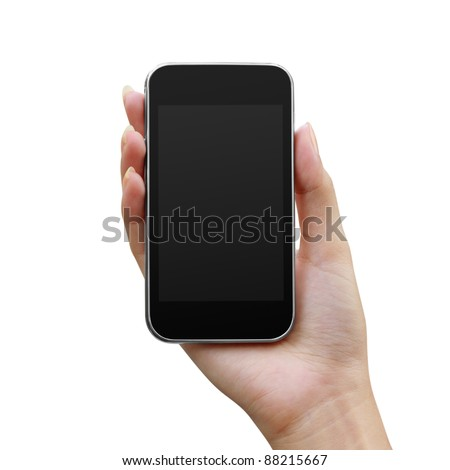 Modern mobile phone in a woman's hand isolated on white background