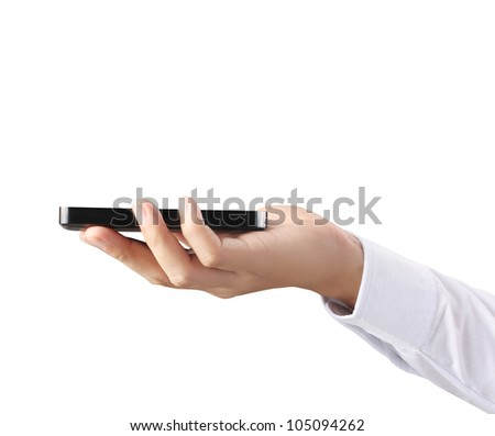 Modern mobile phone in hand isolated