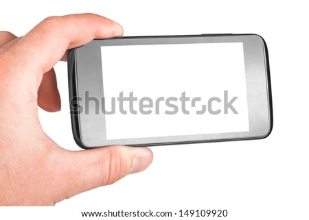 Modern mobile phone in hand isolated on white background - stock photo