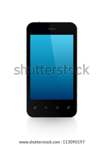 Modern mobile phone.Isolated on white background.3d rendered.