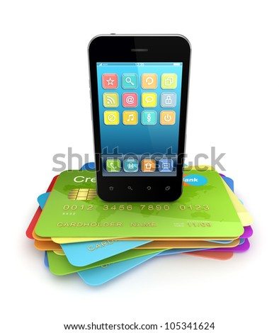 Modern mobile phone on a colorful credit cards.Isolated on white background.