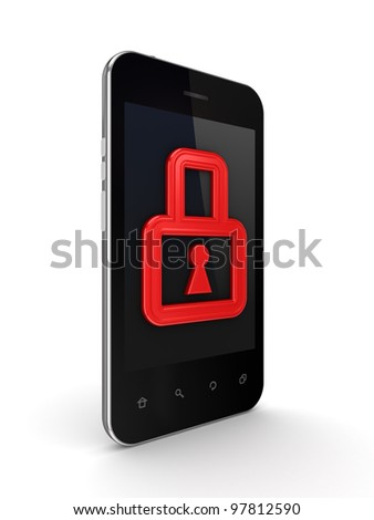 Modern mobile phone with a red lock on a screen.Isolated on white background.3d rendered.