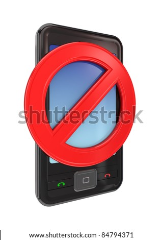 Modern mobile phone with a red stop sign. 3d rendered. Isolated on white background.