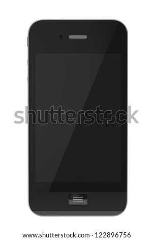 Modern Mobile phone with blank screen on a white background.