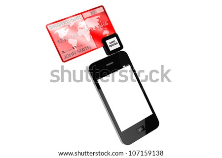 Modern Mobile phone with Credit Card on a white background.