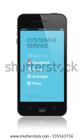 Modern mobile phone with customer service survey form on a screen. Red tick on excellent checkbox showing customer satisfaction. Isolated on white background.