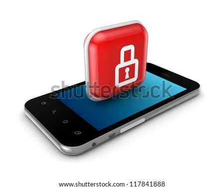 Modern mobile phone with icon of lock.Isolated on white background.3d rendered.
