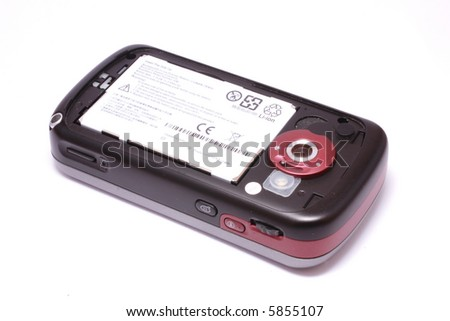 Modern mobile phone with lithium polymer battery (no trademarks)