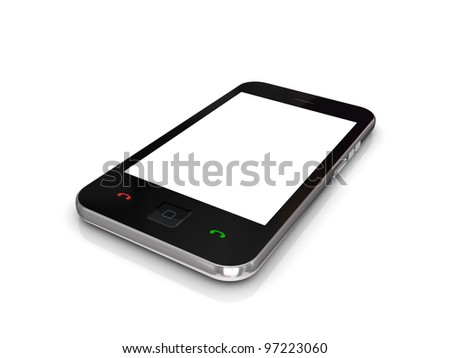 Modern mobile phone with touchscreen.Isolated on white background.